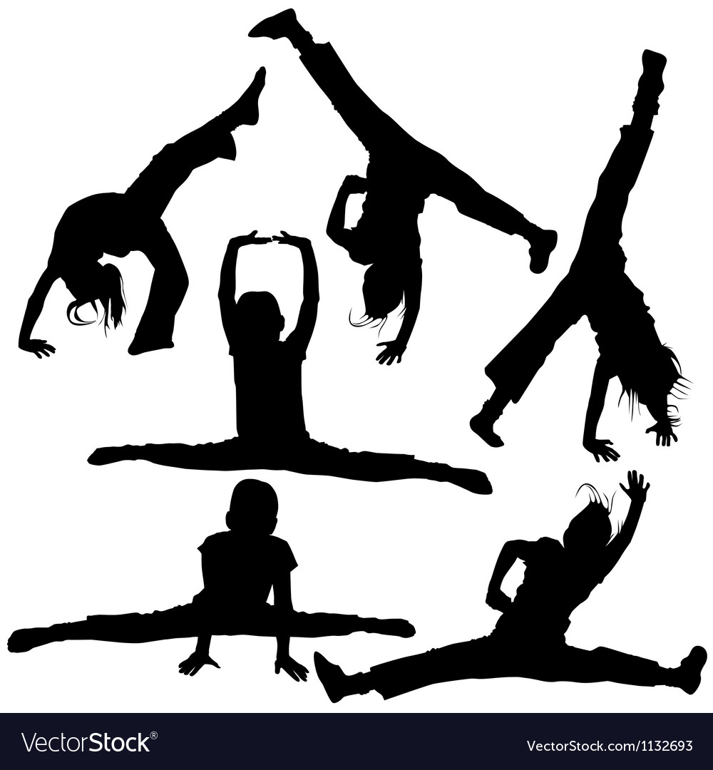 Gym girls silhouettes vector
