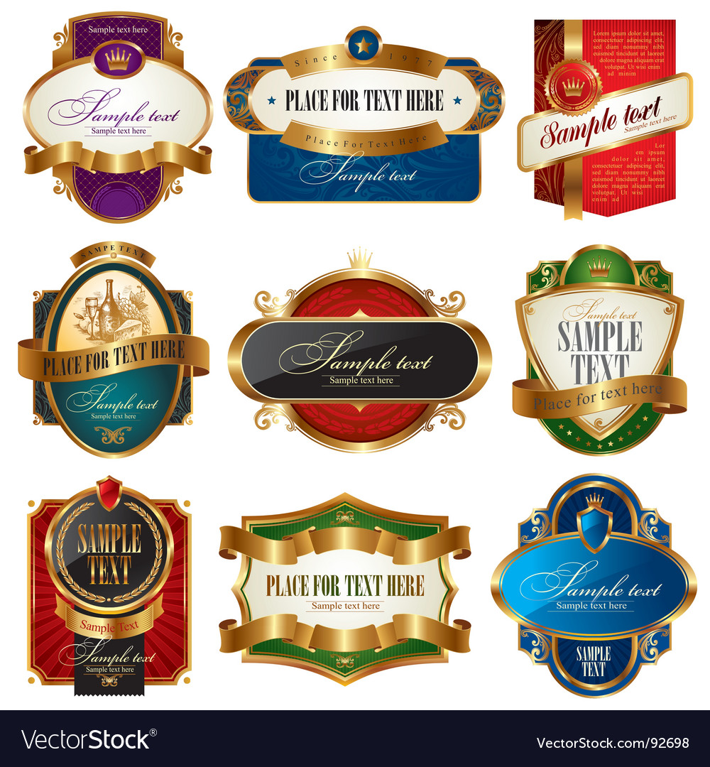 Collection of golden ornate labels vector