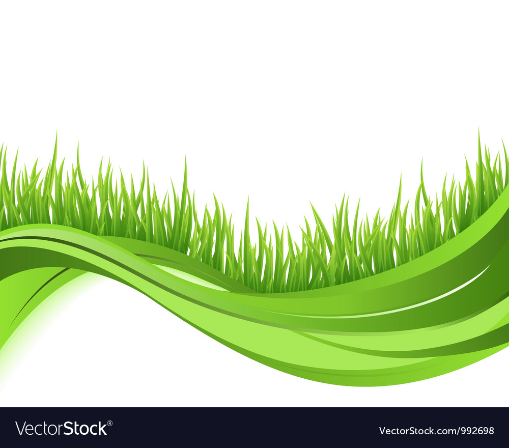 Green grass nature wave background vector