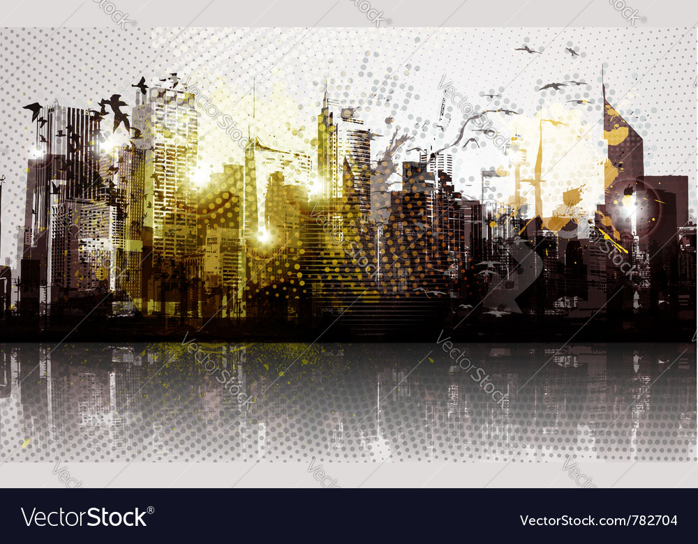 Grunge city panorama vector