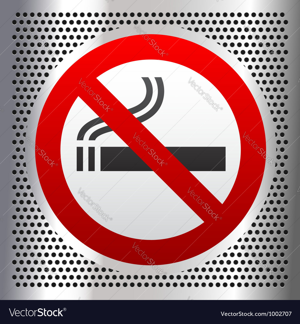 No smoking symbol on a chromium background vector