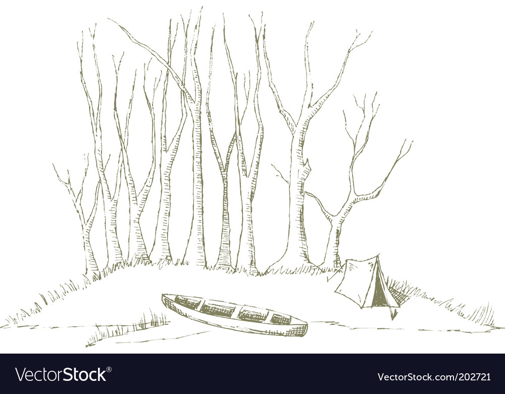 Canoe camp vector