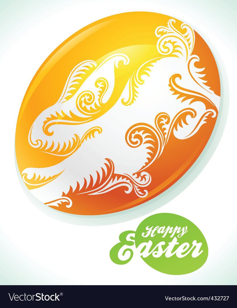 Easter egg and white rabbit vector