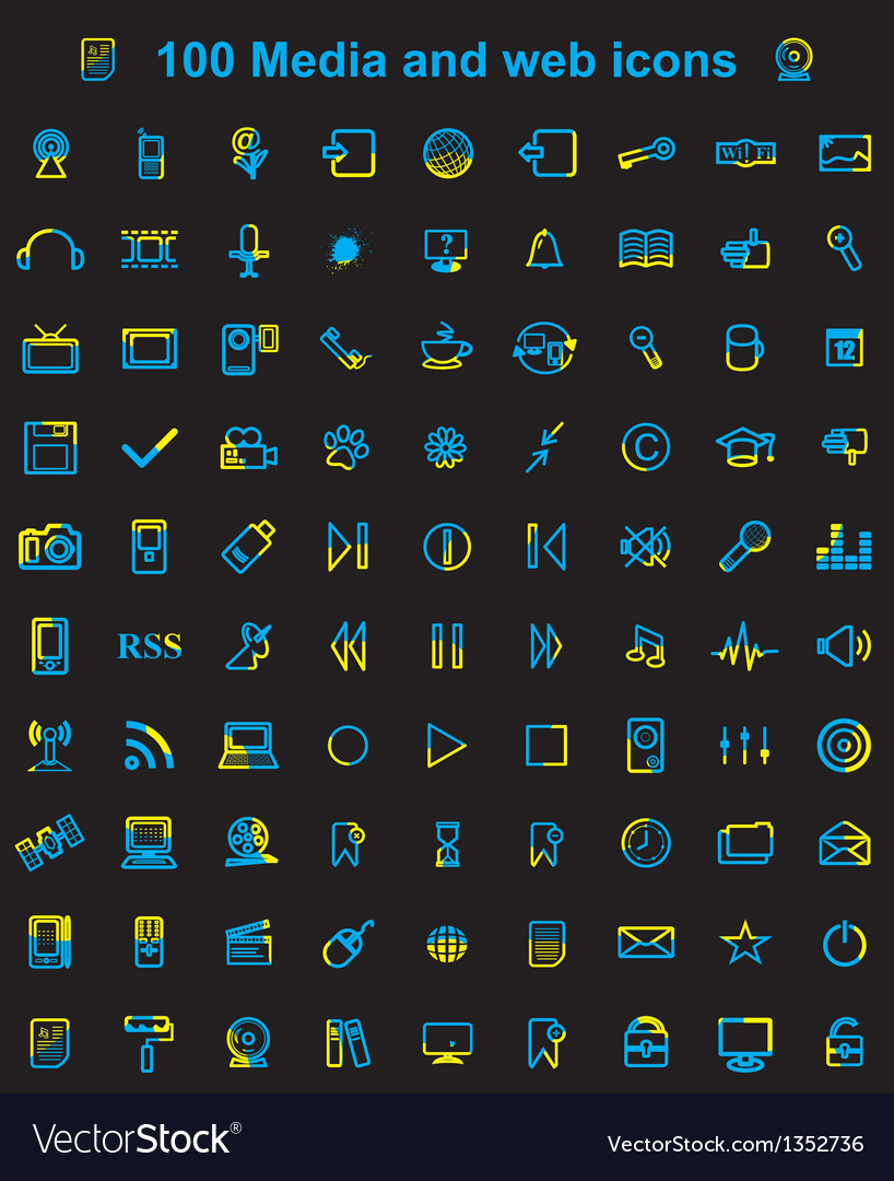 Mega media set of 100 icons vector