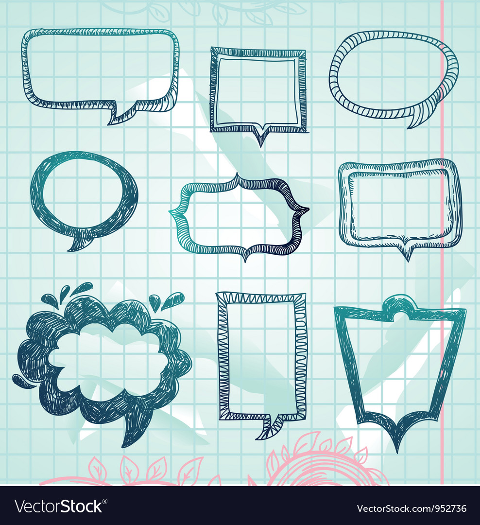 Speech bubbles  handdrawn vector