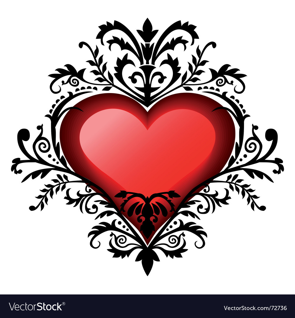 Valentines day baroque heart vector