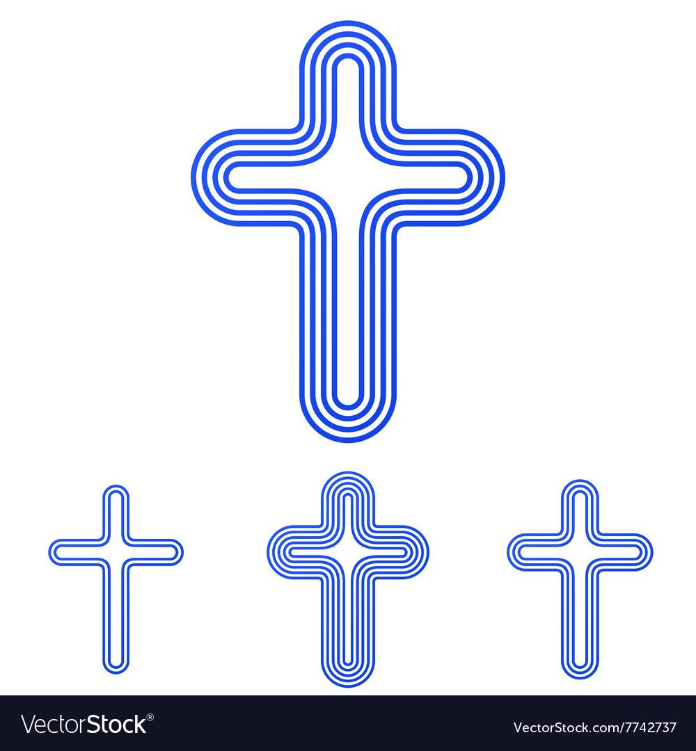 Blue line cross logo design set