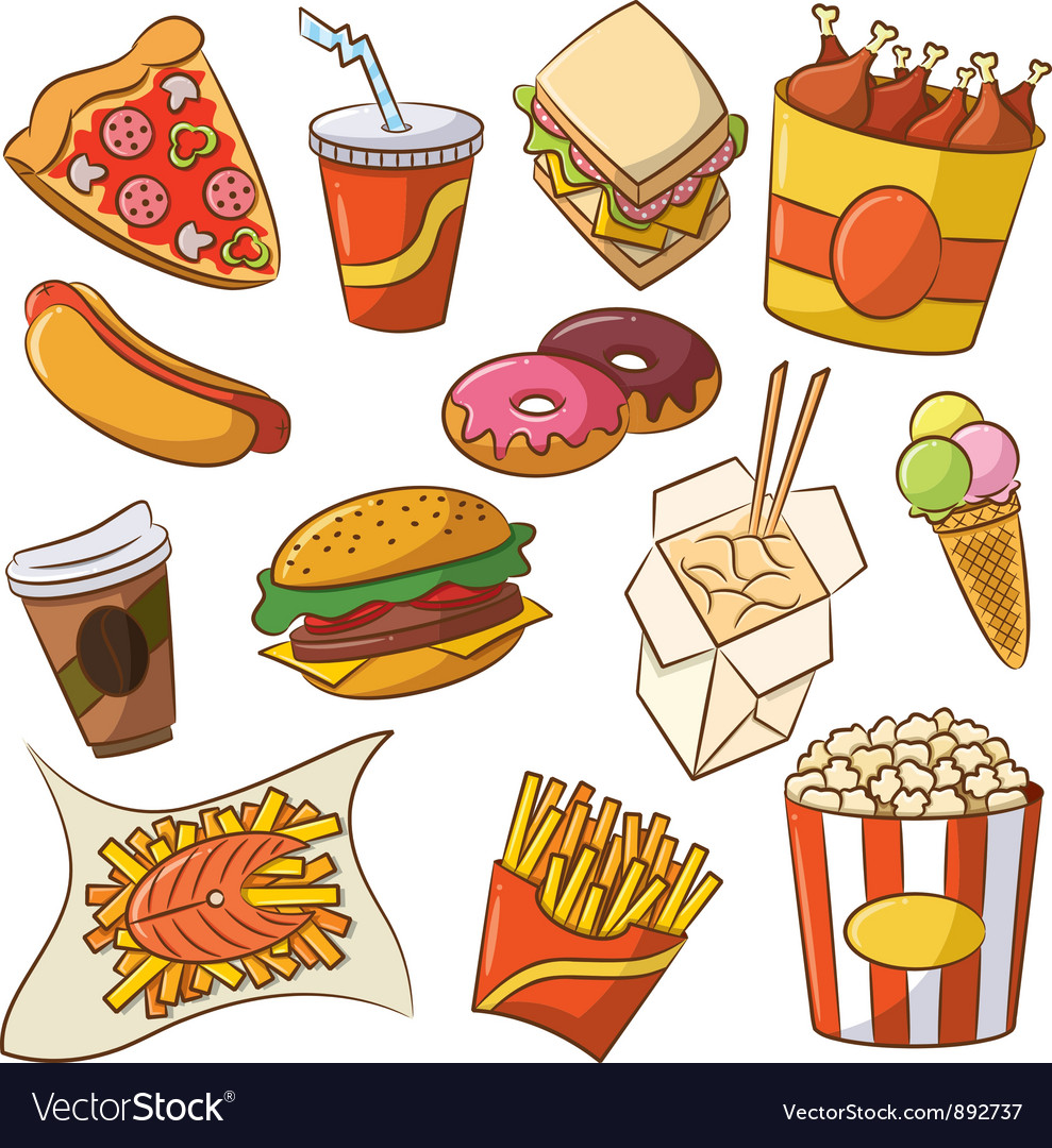 Junk Food Borders And Frames fast food icon set vector by dobric ...