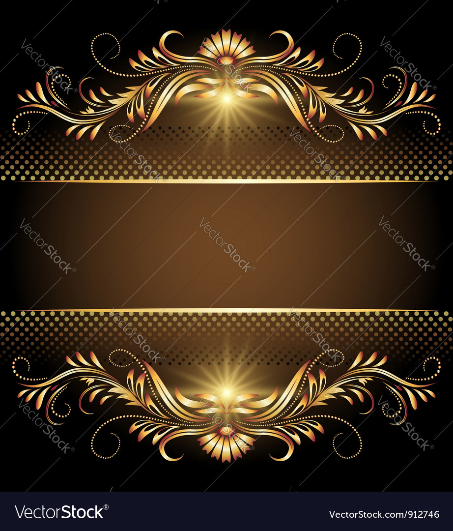 Golden floral background vector