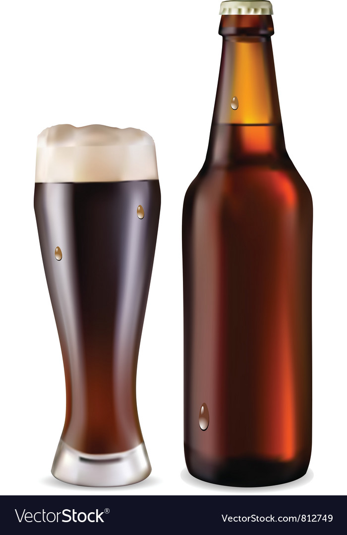 Beer in glass and bottle vector