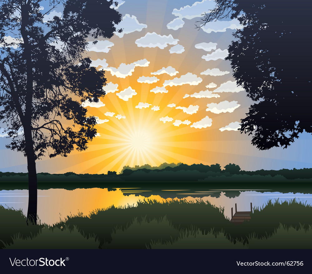 Lake at sunrise vector