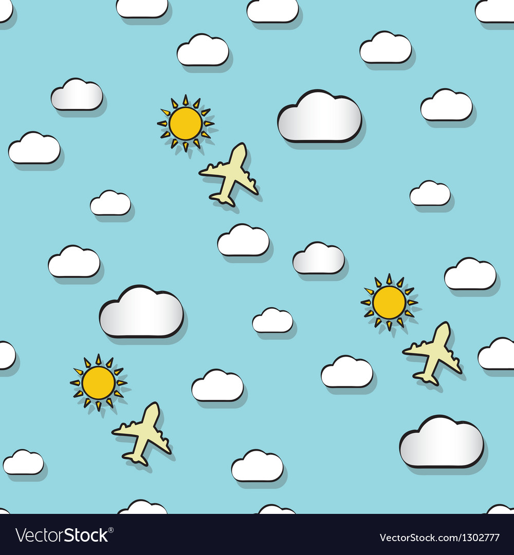 Seamless pattern with clounds suns and airplanes vector