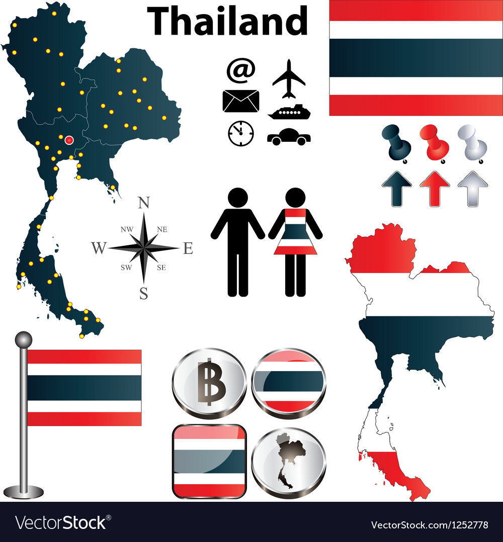 Map of thailand vector
