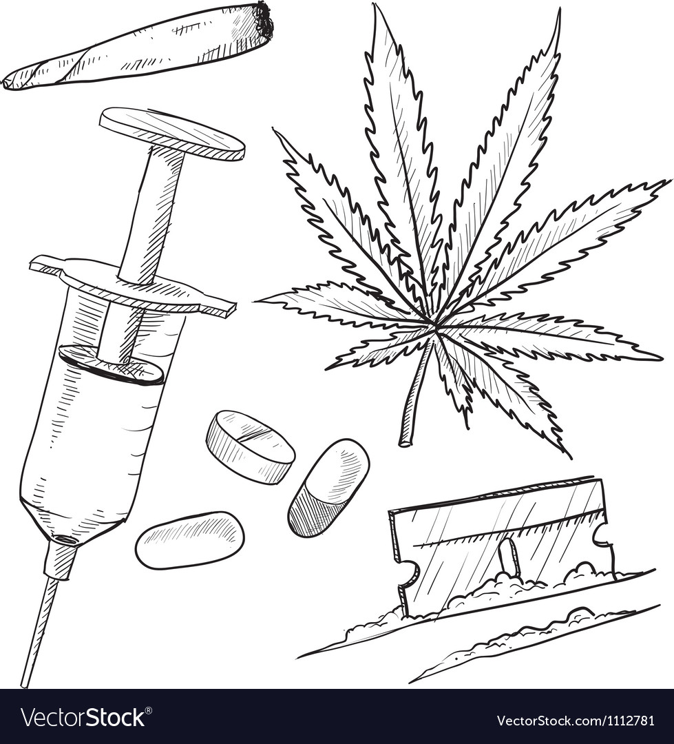 Doodle drugs pot joint pills needle coke vector