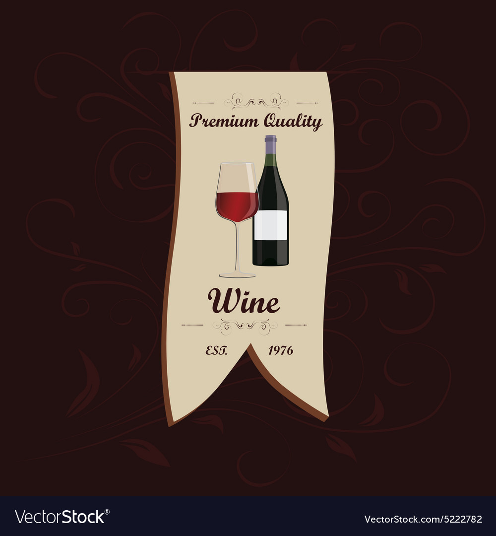 Wine menu ribbon design element with floral