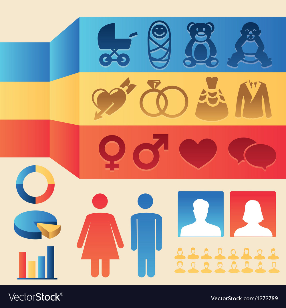 Infographics elements  man and woman vector