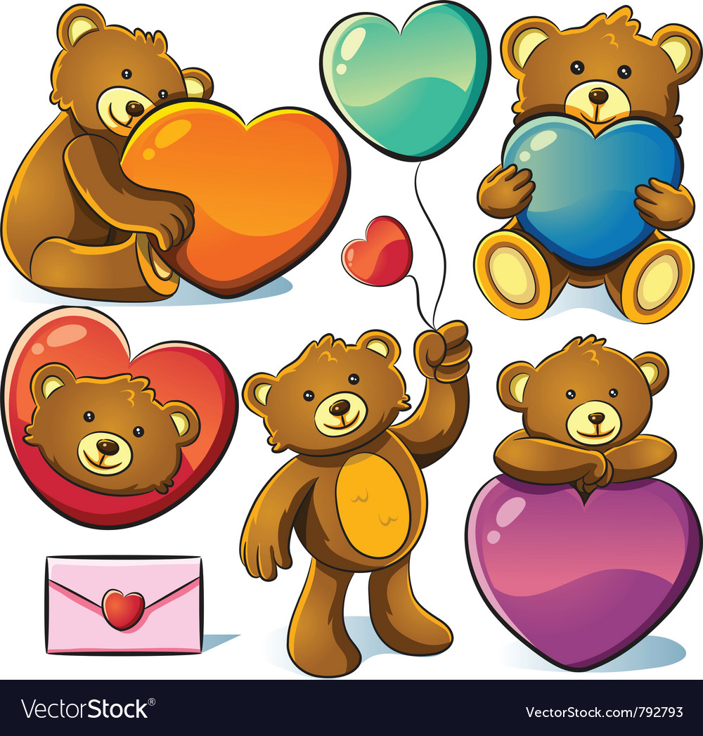 Valentine cute bear vector