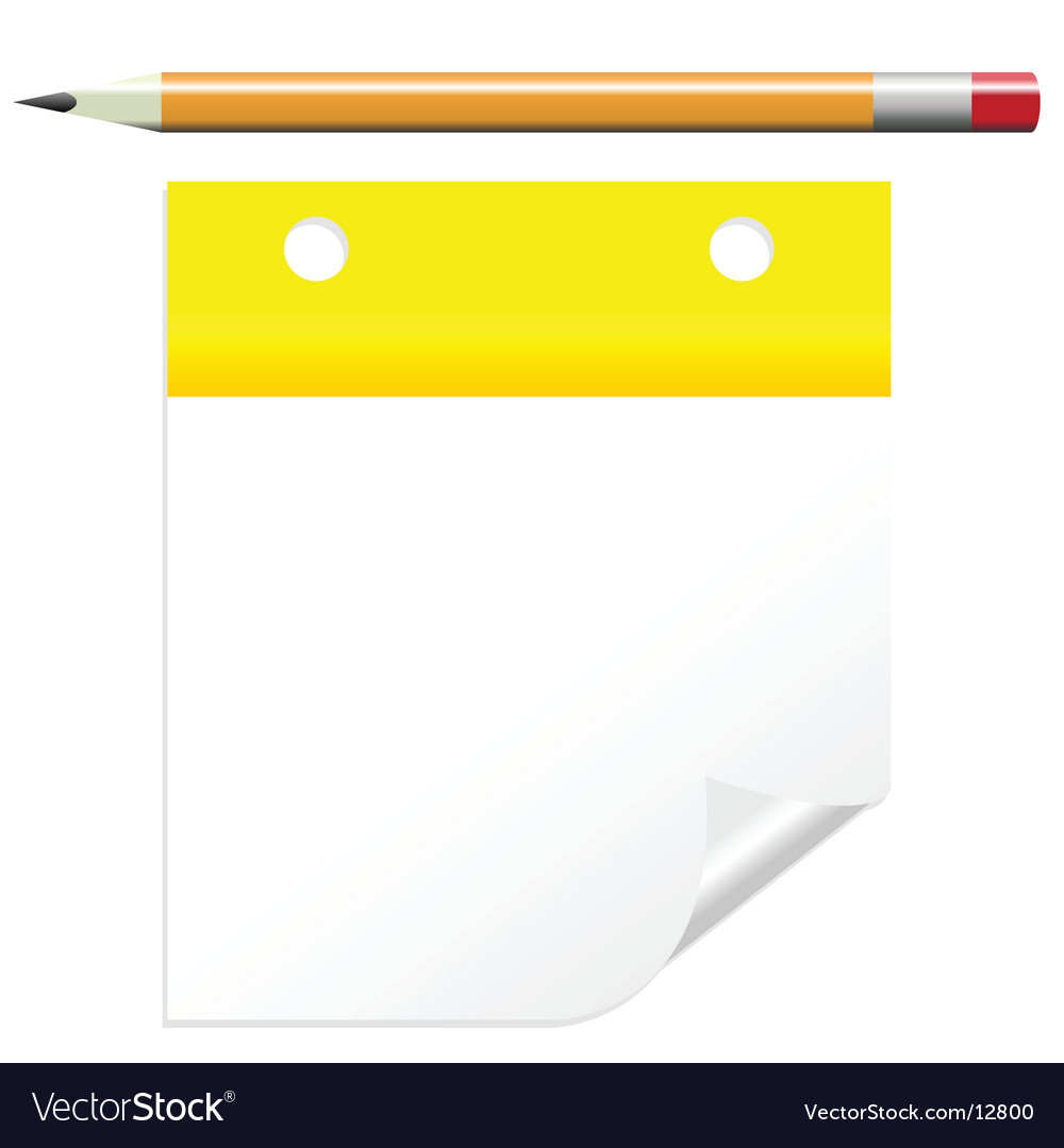 Post it note with pencil vector
