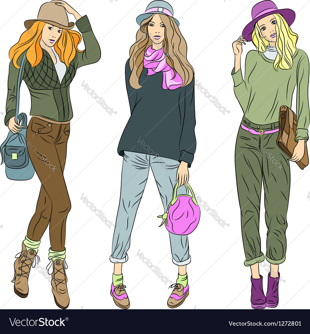 Beautiful fashion girls top models in hats vector
