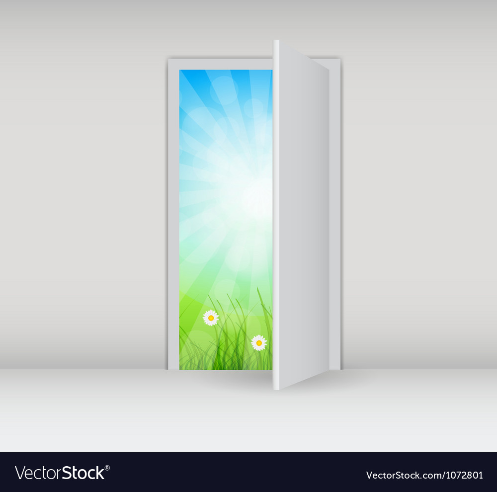 Open white door on a white wall with nature vector