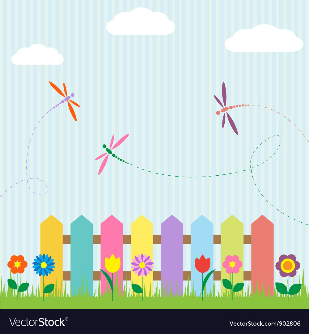 Colorful fence with flowers and dragonflies vector