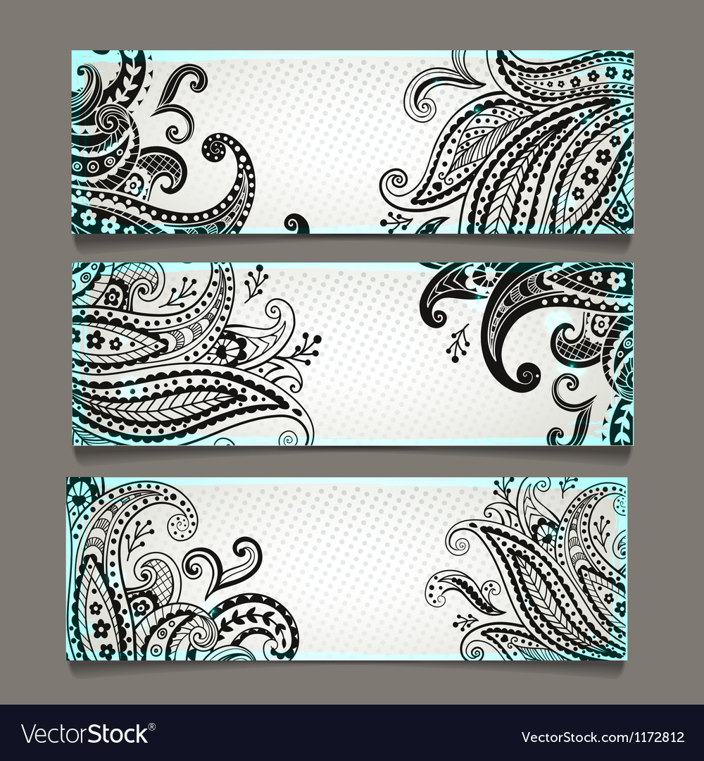 Set of bookmarks with elegant paisley ornaments vector