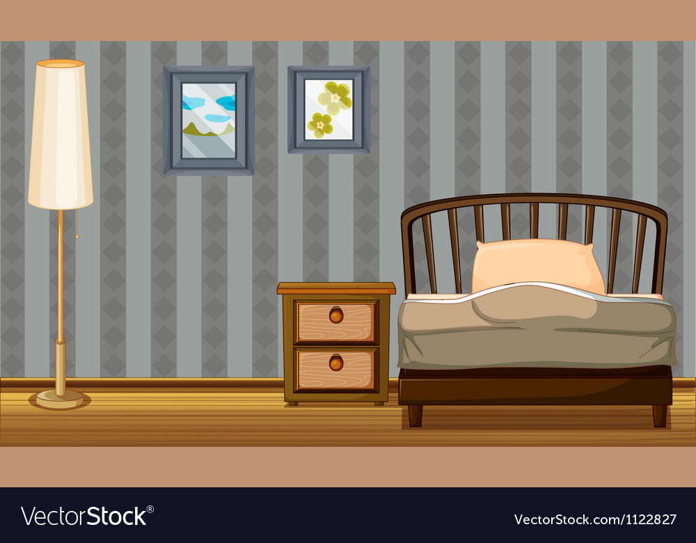 A bed and a lamp vector