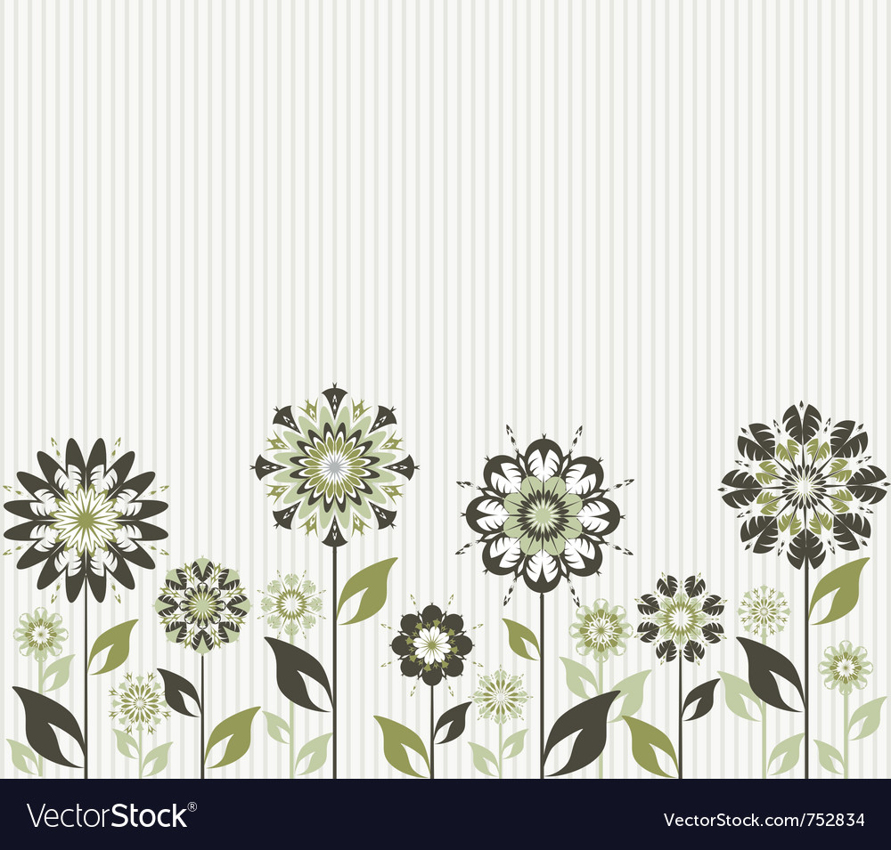 Abstract flowers on striped background vector