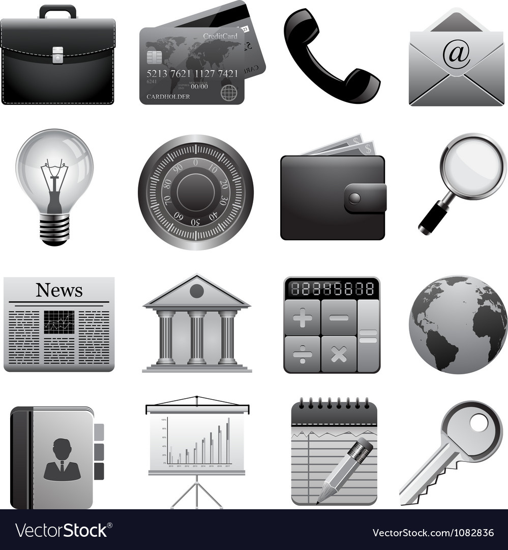 Detailed business icons vector
