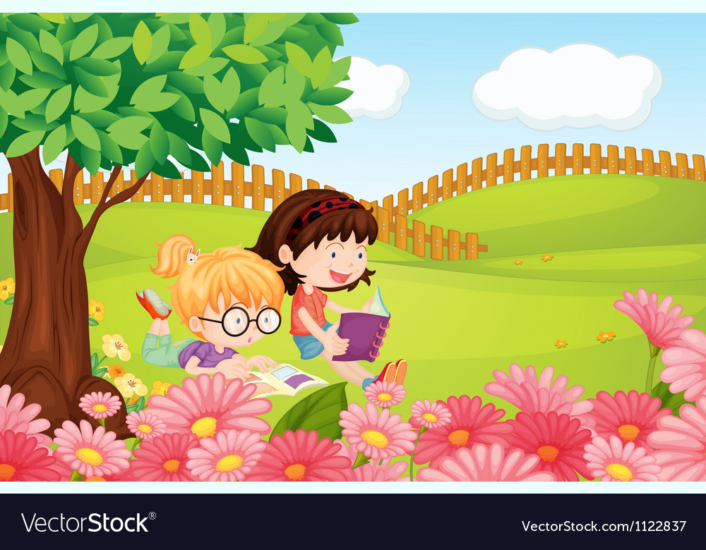 Girls reading books vector