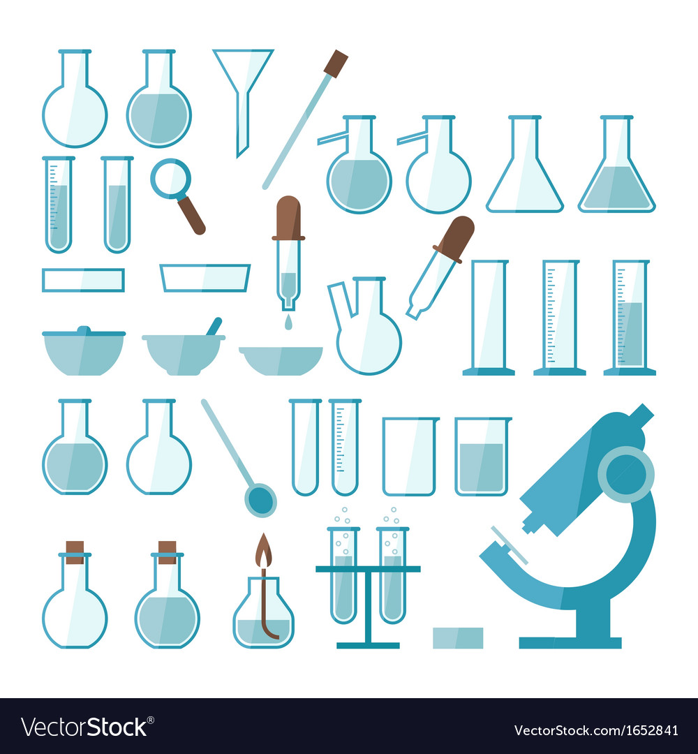 Laboratory equipment set vector
