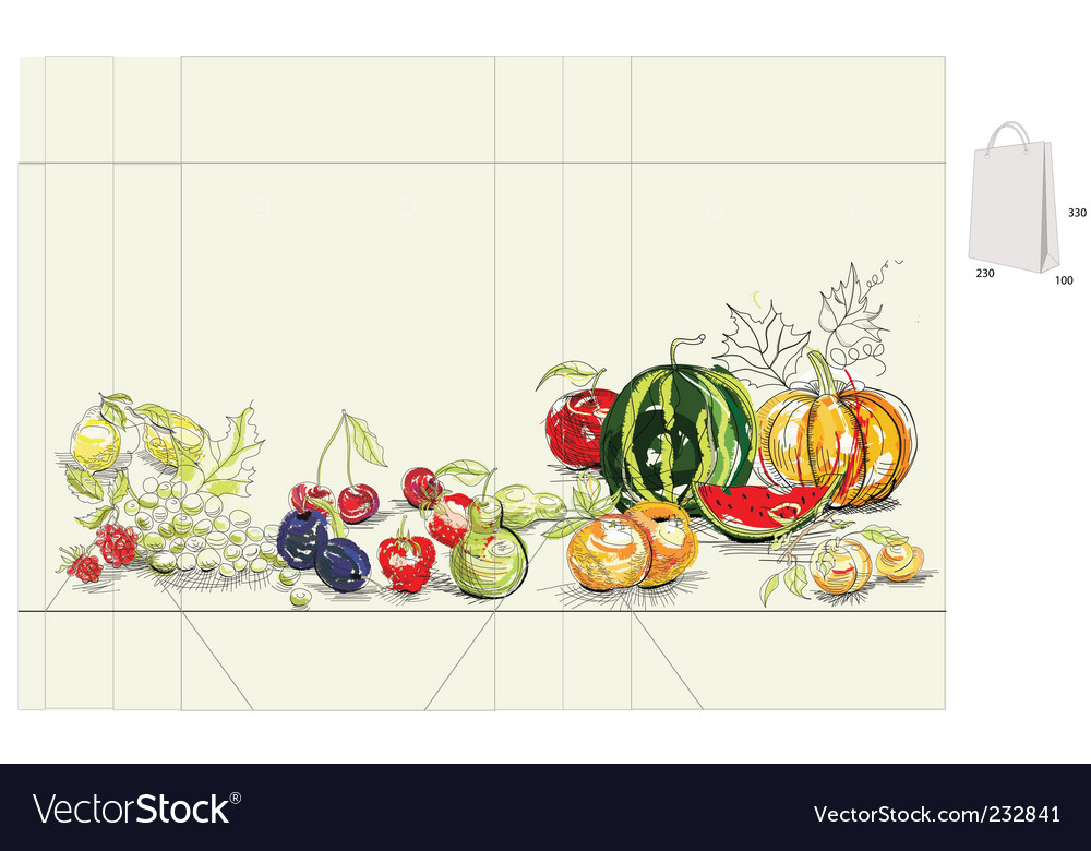 Template for bag with fruit vector
