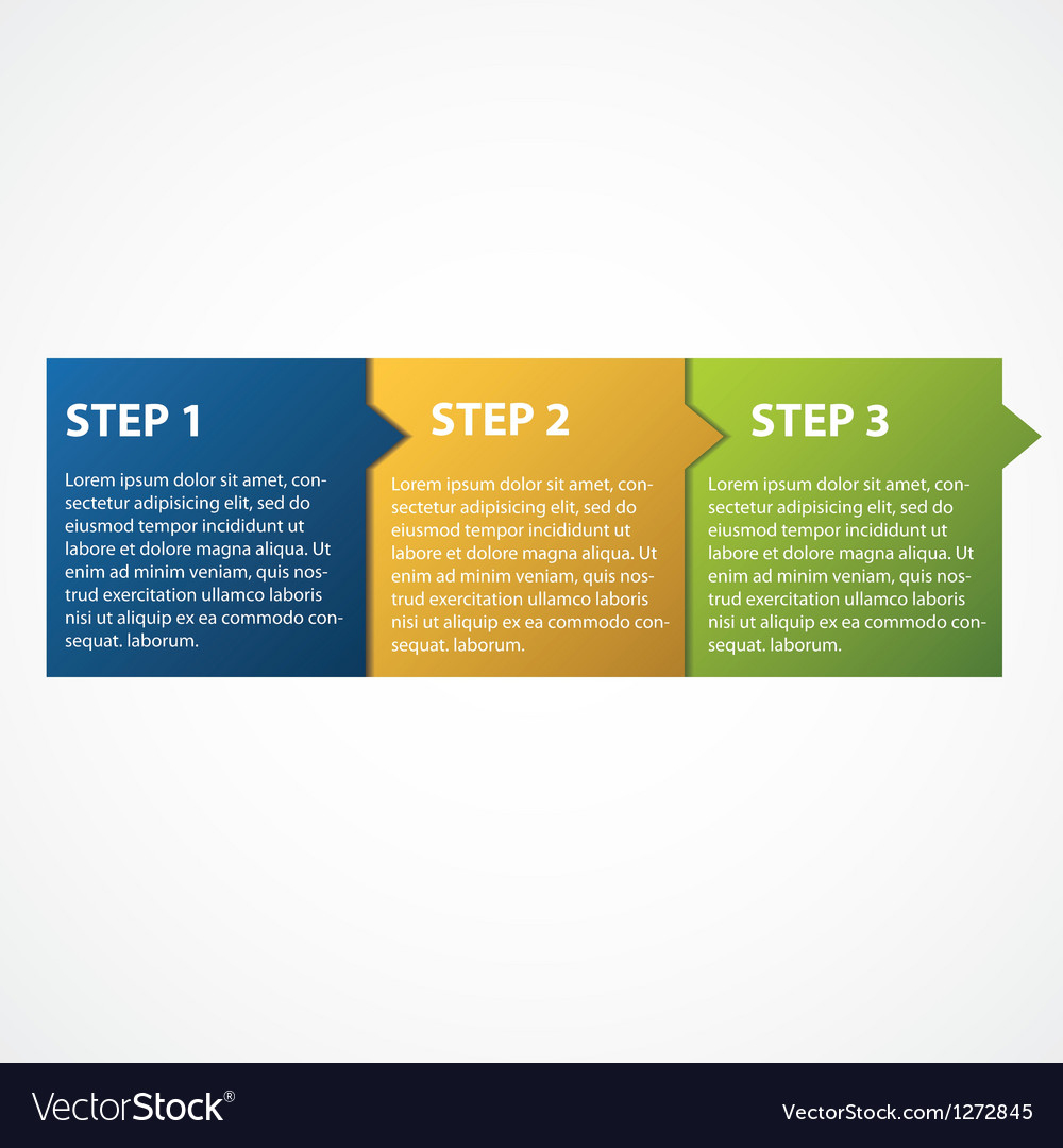 One two three  progress steps for tutorial vector