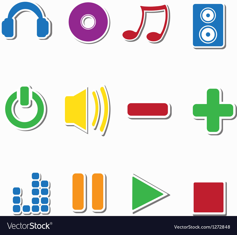 Set of music sticker icons vector