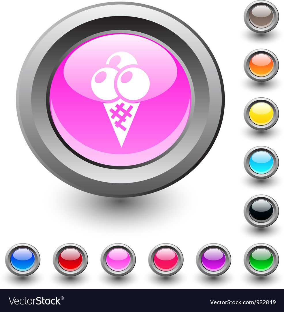 Icecream round button vector