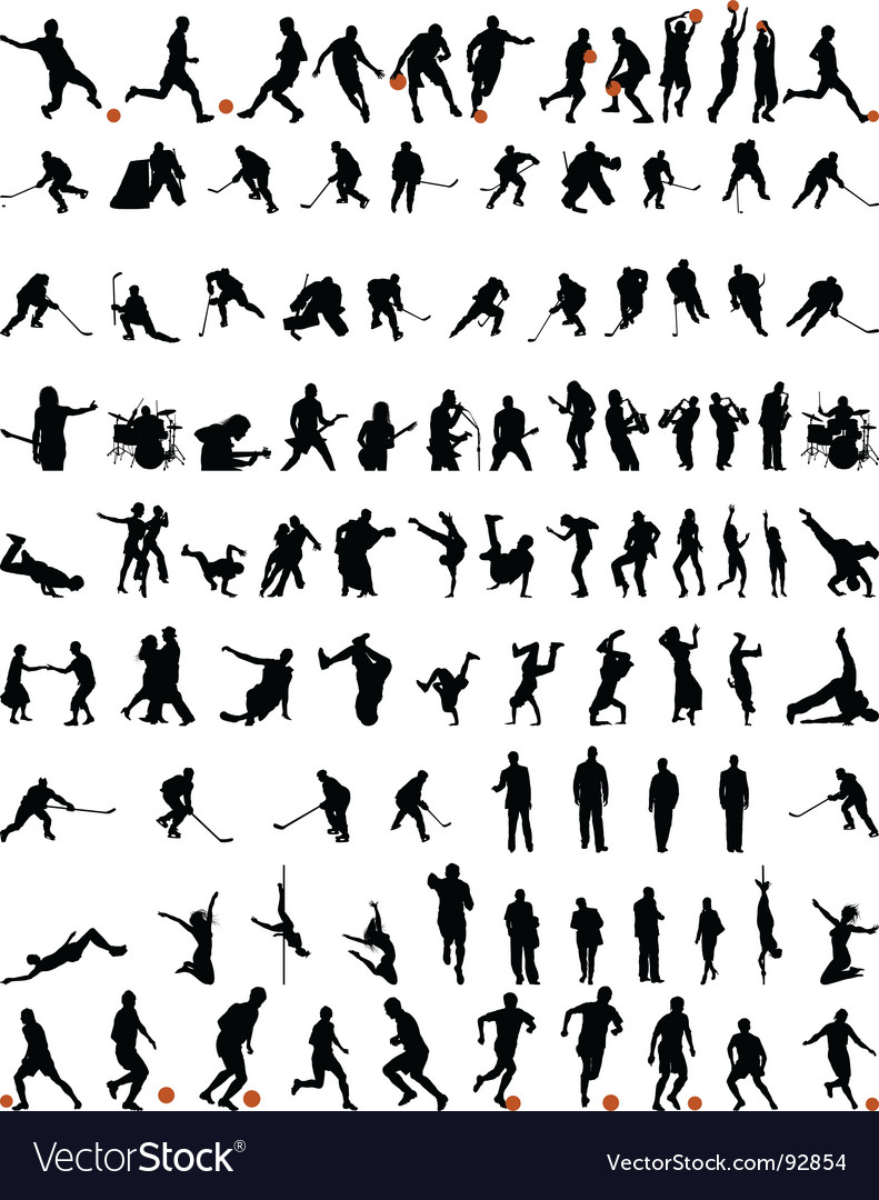 Dance and sport silhouettes set vector
