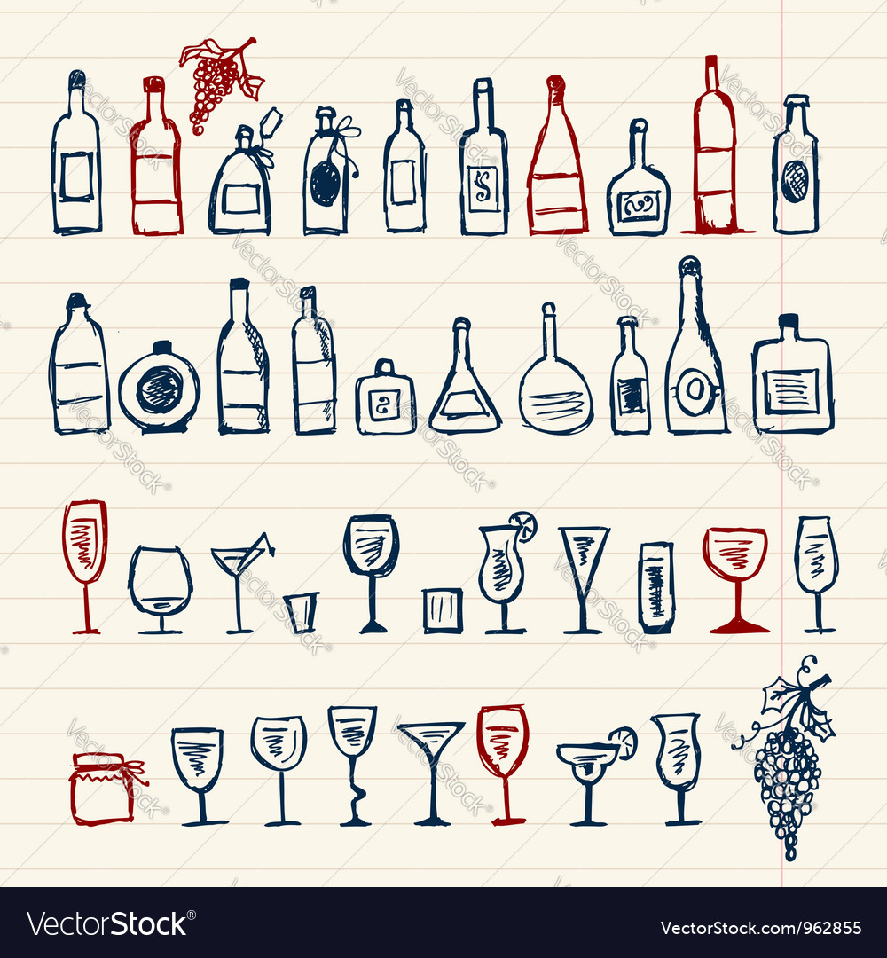 Sketch of alcohols bottles and wineglasses vector