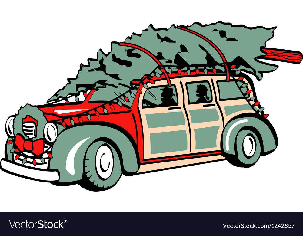 Xmas tree on sedan vector