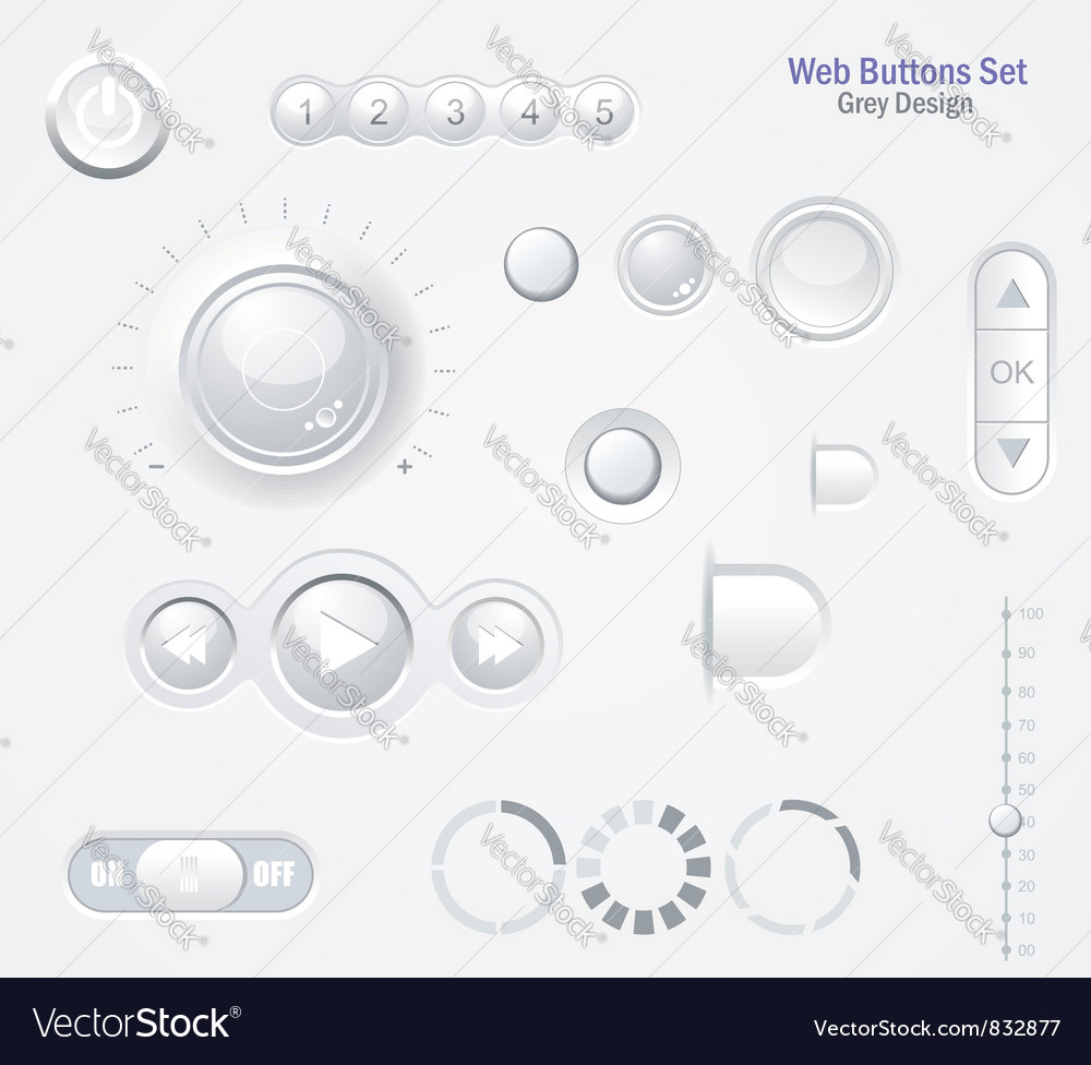 Controls web elements buttons switchers player vector