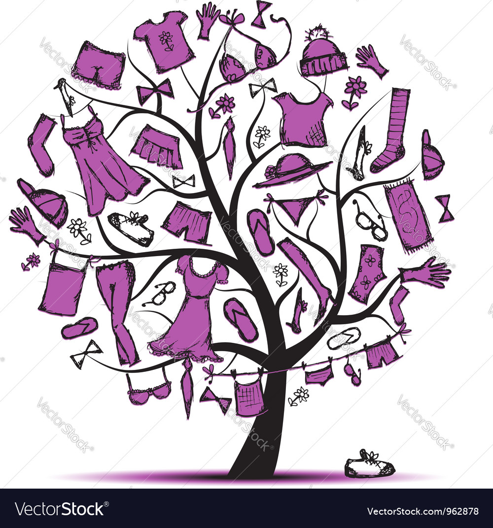 Wardrobe clothes on tree for your design vector