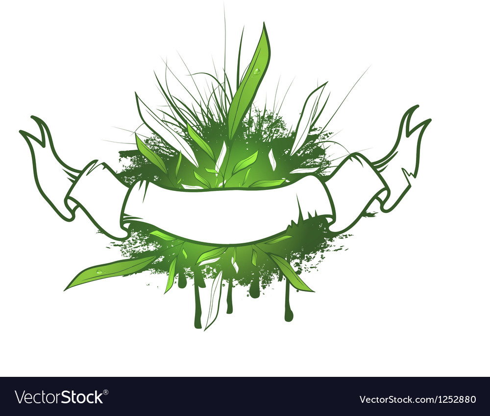 Green leaf ribbon design vector