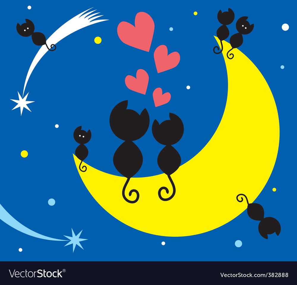 Cats on the moon vector