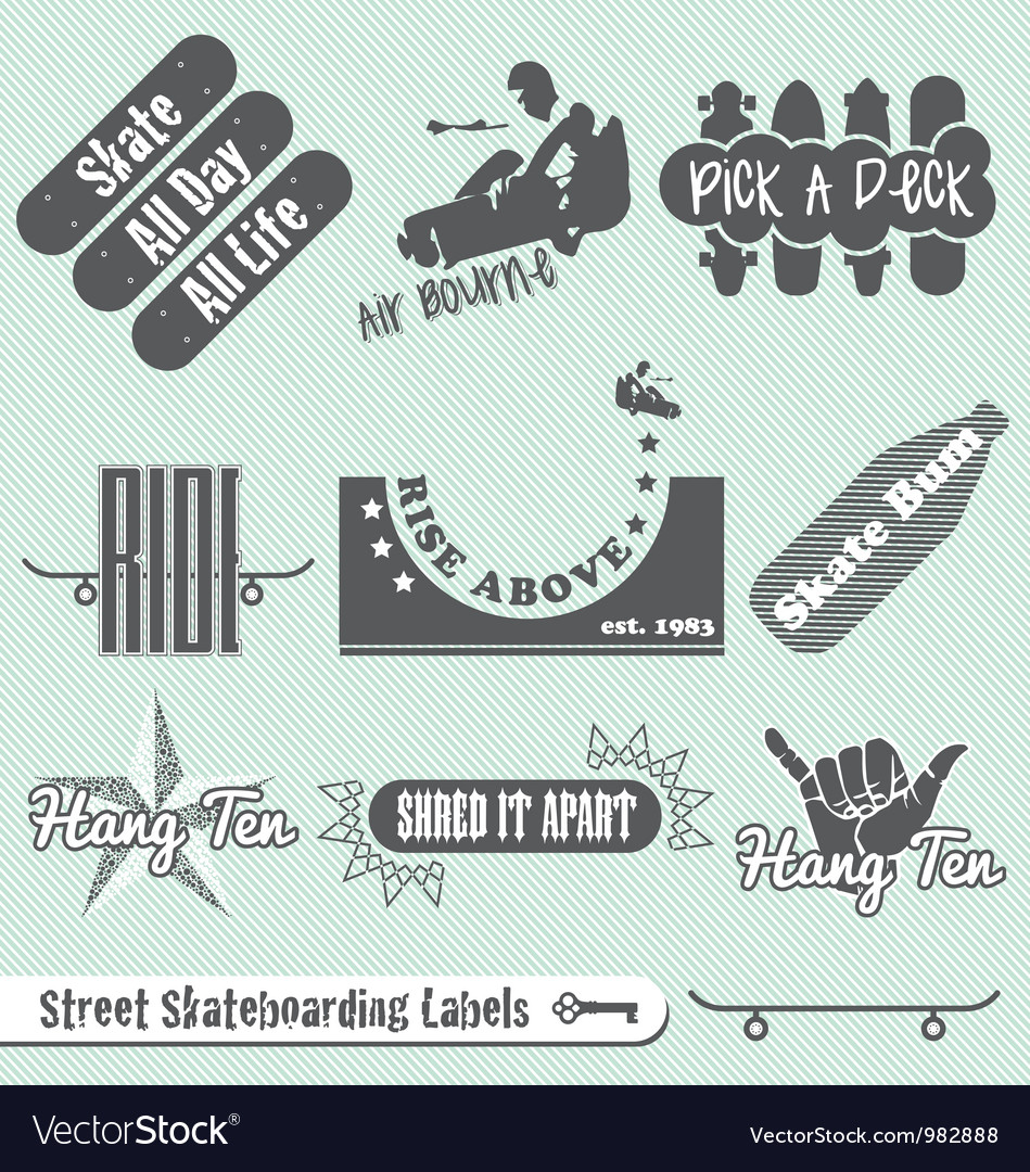 Skateboarding labels vector