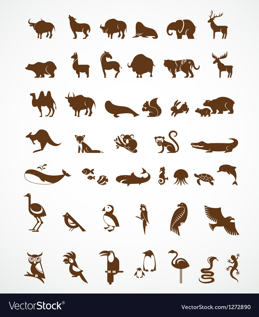Collection of animal icons vector