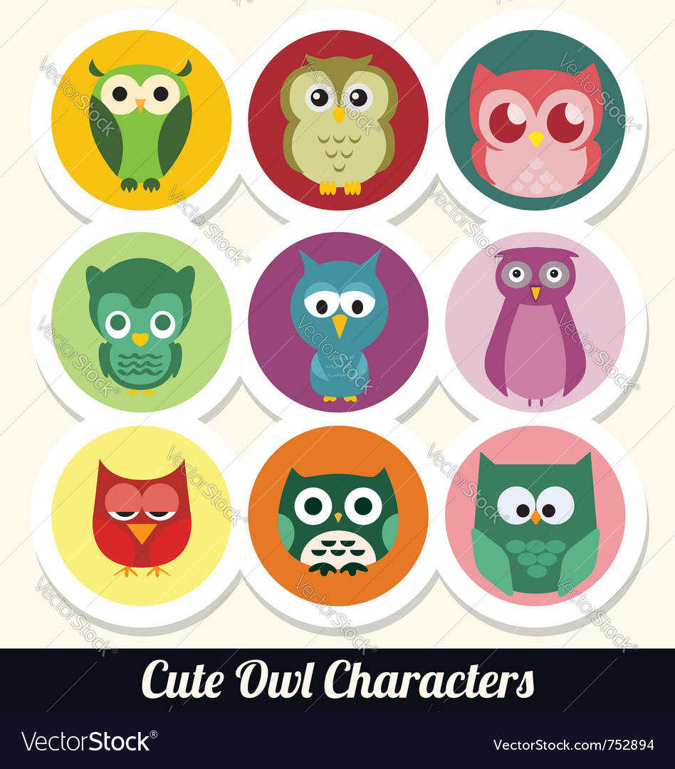 Cute owl characters vector