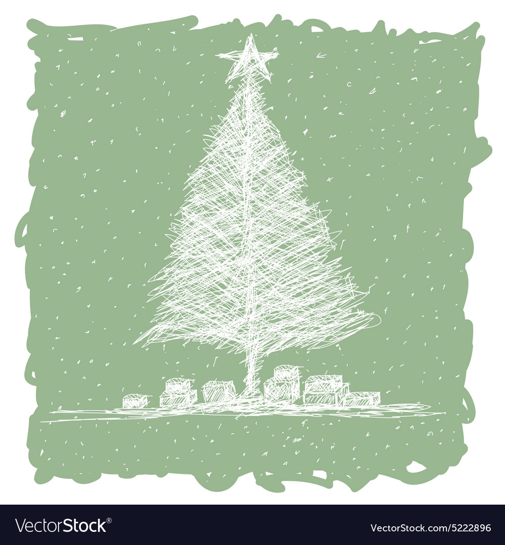 Hand drawn of christmas tree with snow flakes in