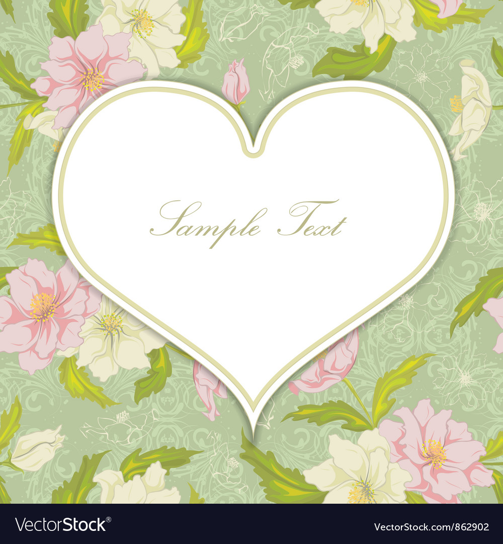 Free heart with floral background vector