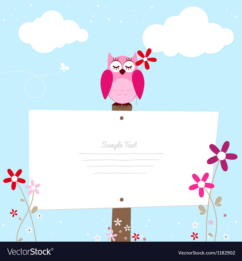 Pink owl with red flower vector