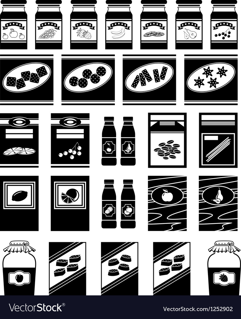 Set of packages for products vector