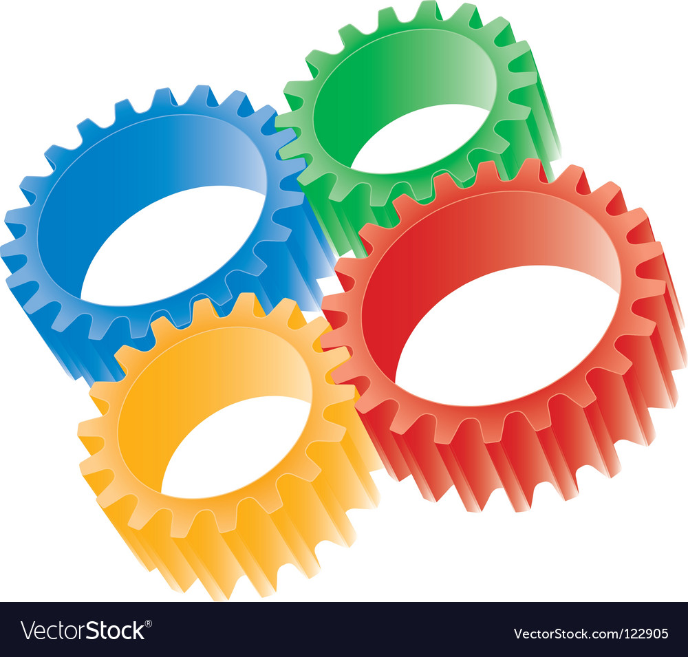 3d colorful gears vector